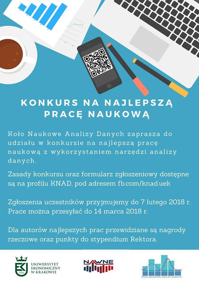 Konkursu badawczy Koła Naukowego Analizy Danych UEK na pracę naukową